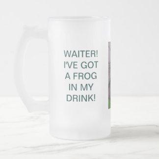 WAITER! I'VE GOT A FROG IN MY DRINK!,... FROSTED GLASS BEER MUG