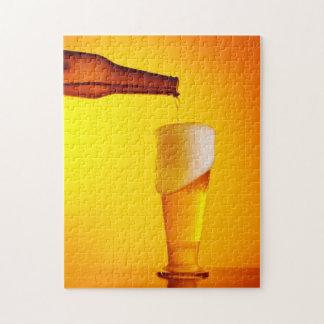 Waiter pouring beer, glass of a cold drink jigsaw puzzle