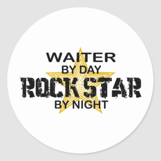 Waiter Rock Star by Night Classic Round Sticker