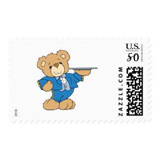 waiter teddy bear design postage