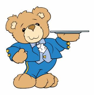 waiter teddy bear design statuette