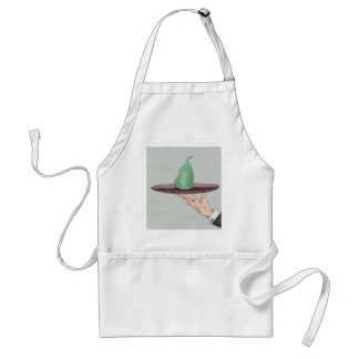 Waiter's Hand Serving an Eaten Pear on a Tray Adult Apron