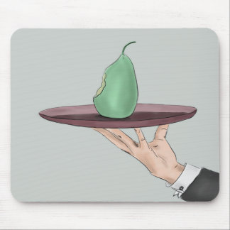 Waiter's Hand Serving an Eaten Pear on a Tray Mouse Pad