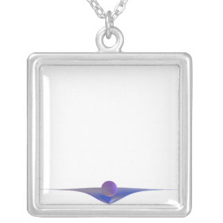 Waiting Abstract Art Square Pendant Necklace