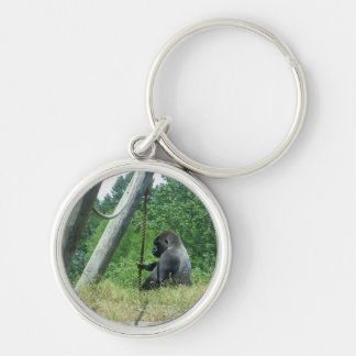 """Waiting and Wondering"" Silver-Colored Round Keychain"