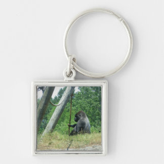 """Waiting and Wondering"" Silver-Colored Square Keychain"