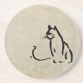Waiting Cat Sandstone Coaster