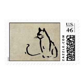 Waiting Cat Stamp