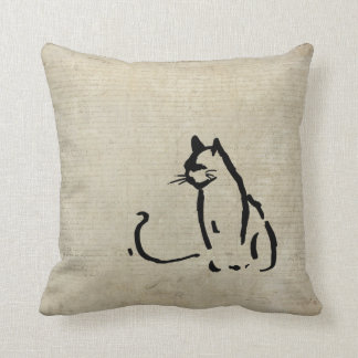 Waiting Cat Throw Pillows