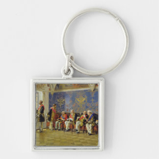Waiting for an Audience, 1904 Silver-Colored Square Keychain