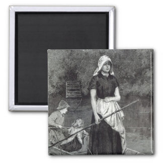 Waiting for Father, from 'Leisure Hour', 1888 2 Inch Square Magnet