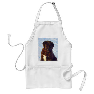 Waiting for mom love black white labrador puppy adult apron