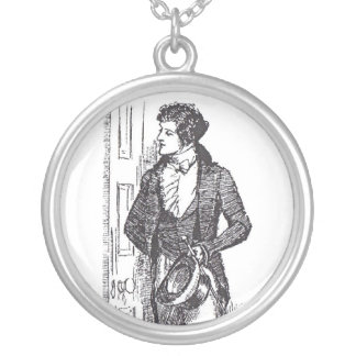 Waiting For Mr. Darcy Round Pendant Necklace