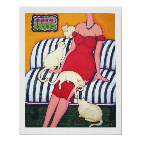 Waiting for Mr Wrong - Woman with Cats Poster