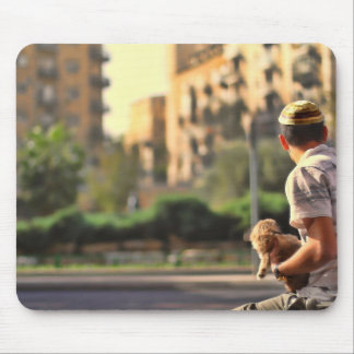 Waiting for salvation with dog mouse pad