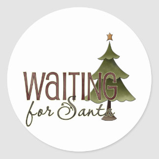 Waiting For Santa Christmas Tree Design Round Stickers