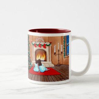 """Waiting for Santa Claus"" Two-Tone Coffee Mug"