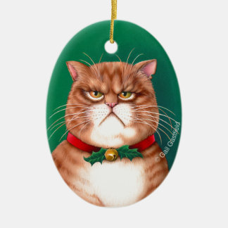 Waiting for Santa Claws Ceramic Ornament