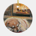 Waiting for Santa Dog Puppy Fireplace Ornament