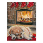 Waiting for Santa Dog Puppy Fireplace Xmas card Postcards