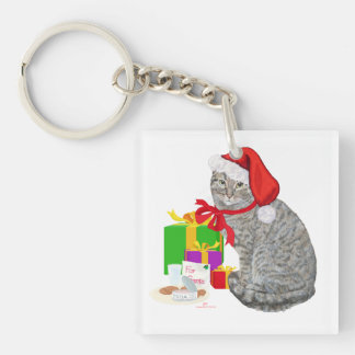 Waiting for Santa Double-Sided Square Acrylic Keychain