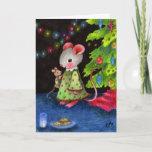 Waiting for Santa Mouse - Cute Christmas Art Holiday Card