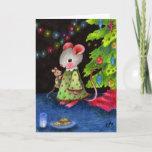 Waiting for Santa Mouse — Cute Christmas Art Holiday Card