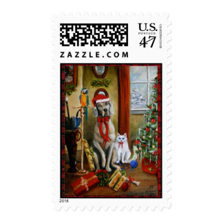 Waiting for Santa Parrot Cat Dog Christmas Violano Postage Stamp
