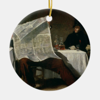 Waiting for the Times, 1831 (oil on canvas) Ceramic Ornament