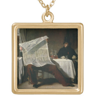 Waiting for the Times, 1831 (oil on canvas) Gold Plated Necklace