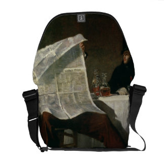 Waiting for the Times, 1831 (oil on canvas) Messenger Bag