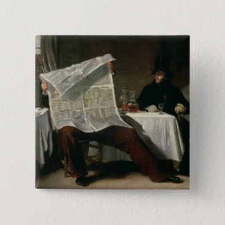 Waiting for the Times, 1831 (oil on canvas) Pinback Button