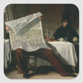 Waiting for the Times, 1831 (oil on canvas) Square Sticker