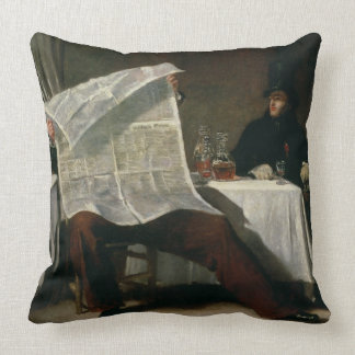 Waiting for the Times, 1831 (oil on canvas) Throw Pillow