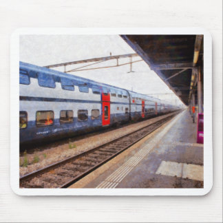 Waiting for the train on Swiss station Mouse Pad
