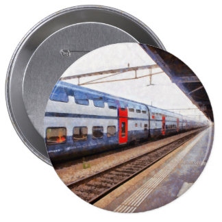Waiting for the train on Swiss station Pinback Button