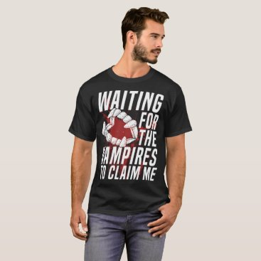 Beach Themed Waiting For The Vampires To Claim Me Halloween T-Shirt