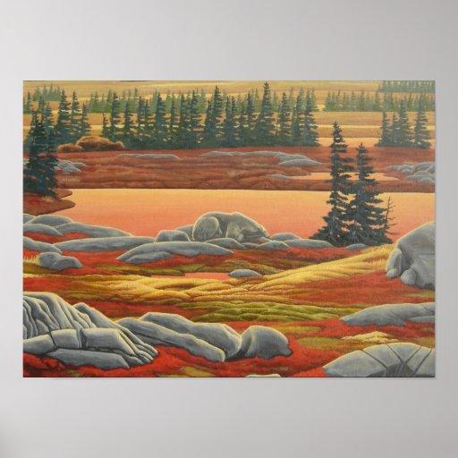Waiting For Winter 2 Polar Bear Painting Print