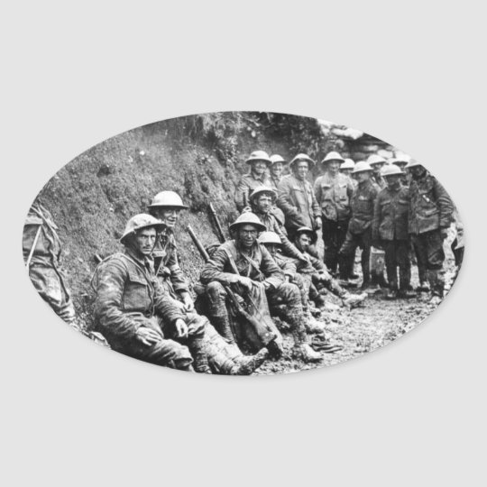 Waiting in the Trenches WWI Oval Sticker