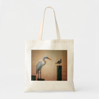 """""""Waiting on Sunset"""" - snowy egret tote"""