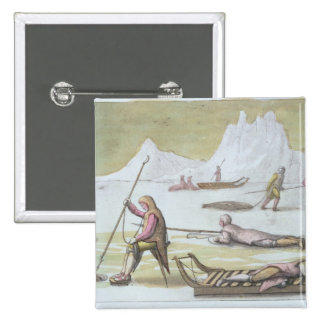 Waiting on the Ice, detail from Seal Hunting (colo 2 Inch Square Button