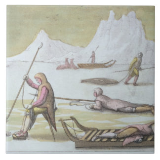 Waiting on the Ice, detail from Seal Hunting (colo Ceramic Tile