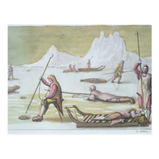 Waiting on the Ice, detail from Seal Hunting (colo Postcard