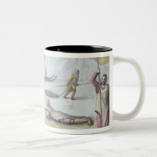 Waiting on the Ice, detail from Seal Hunting (colo Two-Tone Coffee Mug