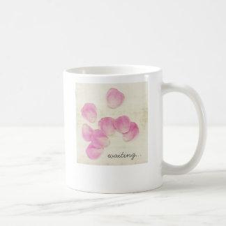 """""""Waiting"""" Pink Rose Petals White Mug"""