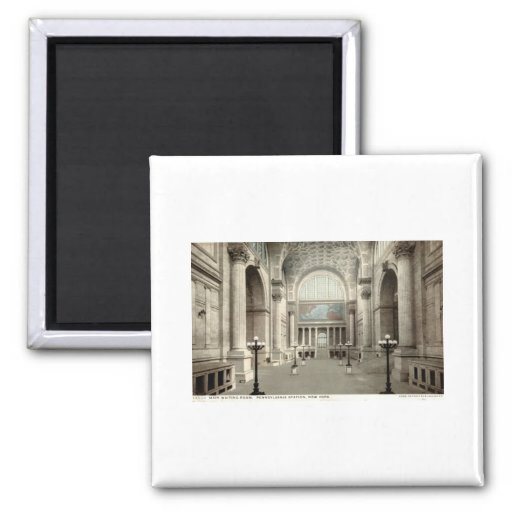 Waiting Room, Pennsylvania Station NY 1913 Vintage 2 Inch Square Magnet