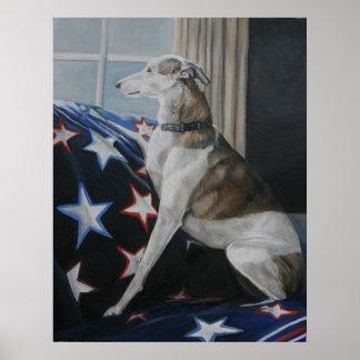 Waiting Whippet Dog Art Poster