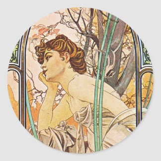 Waiting Woman Classic Round Sticker
