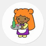 Waitress 1 round sticker