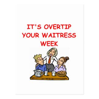 waitress joke postcard
